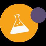 Ikona ku kvízu na tému zvrátená veda - ilustrácia chemickej banky s tekutinou vnútri.