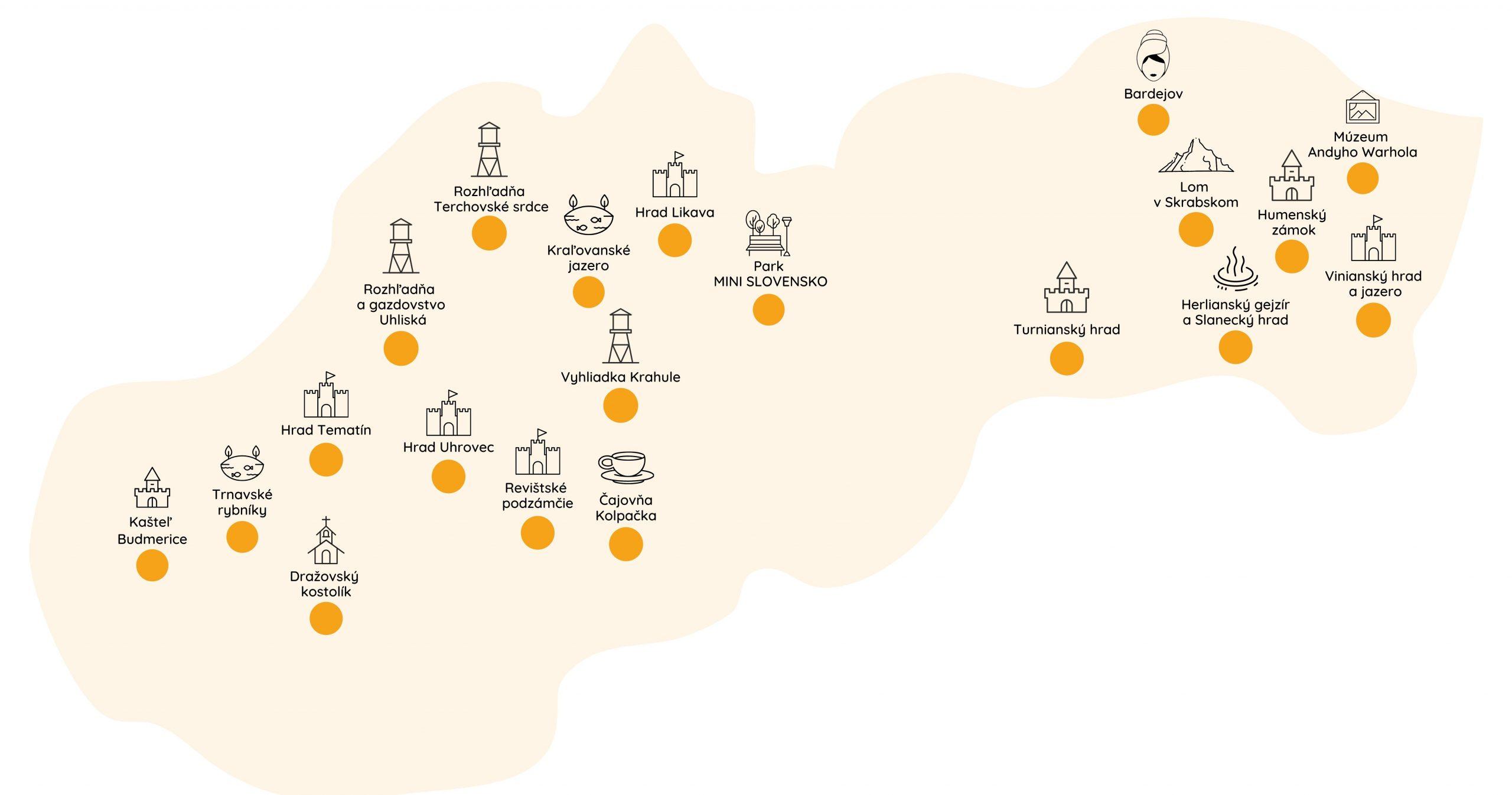 Mapa Slovenska s vyznačením dôležitých bodov ku kampani EduEra Roadtrip.
