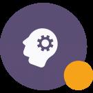 Ikona ku kvízu na tému osobnostný rozvoj - ilustrácia hlavy a ozubeného kolesa vnútri nej.
